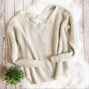 UO Sparkle & Fade Chunky Knit Cross Back Sweater